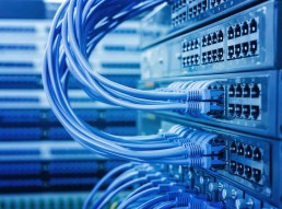 Blue cable connected to a server
