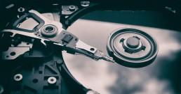 an up close look at a hard drive