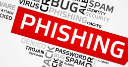 A bundle of terms which are related to cyber scams, the main word says 'Phishing'
