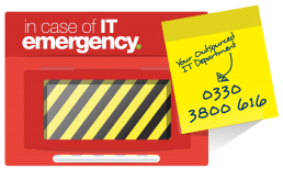 a break glass in case of emergency box, with a post-it note with Syntec's Phone number - 0330 3800 616